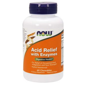 ACID RELIEF WITH ENZYMES – 60 CHEWABLES